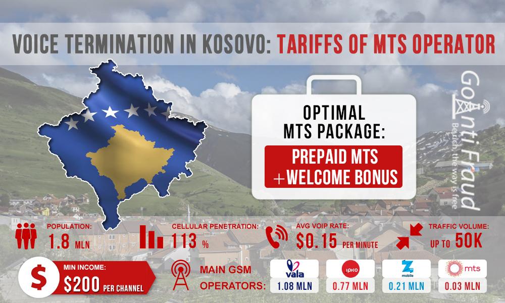 Voice termination in Kosovo: MTS operator rates